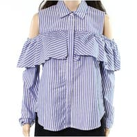Harlowe & Graham Blue Womens Small S Striped Cold-Shoulder Blouse