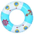 "30"" Blue and White Boat and Anchor Inflatable Swimming Pool Inner Tube Ring Float - Thumbnail 0"
