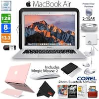 "Apple 13.3"" MacBook Air 128GB SSD + iBenzer Basic Soft-Touch Series Plastic Hard Case + Keyboard Cover (Pink) Bundle"
