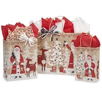Pack of 125, Woodland Santa Bag Assortment For Christmas Packaging, 100% Recyclable, Made In Usa