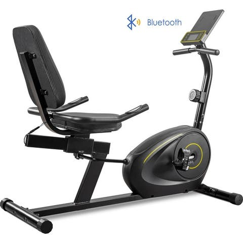 Recumbent Exercise Bike with Bluetooth Monitor, Easy Adjustable Seat