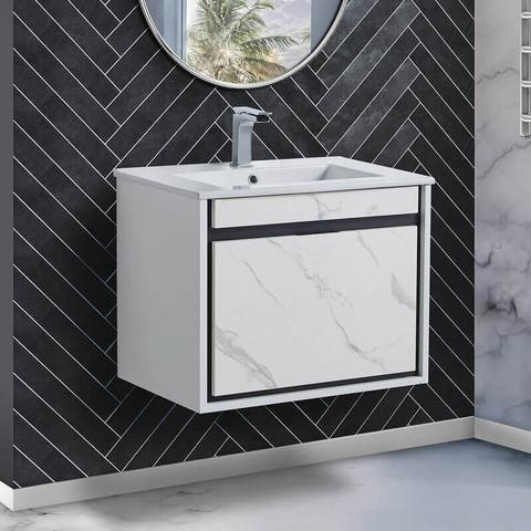 Fine Fixtures - Wall Mount Bathroom Vanity and Sink, Knob Free Design - Alpine Collection -