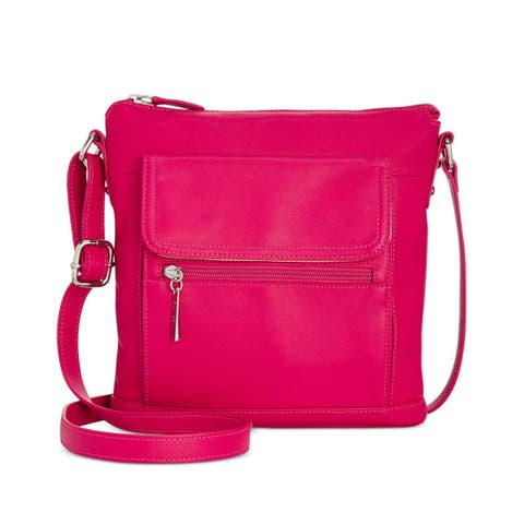 Giani Bernini Nappa Leather Venice Crossbody Bag Raspberry
