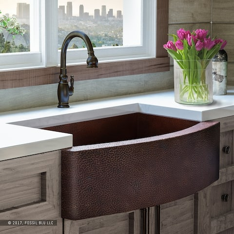 Heavy 12-GAUGE Luxury 33 inch Copper (52 POUNDS) Farmhouse Sink, Single Bowl, Curved Front, Grid and Flange, by Fossil Blu