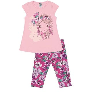 Girls Outfit Graphic Shirt and Capri Leggings Set Pulla Bulla Sizes 2-10 Years