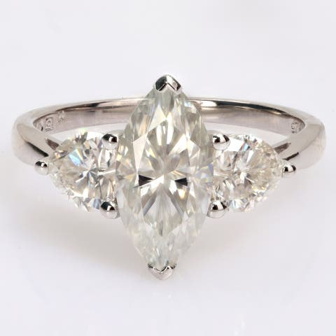 Miadora 2 1/2ct DEW Marquise & Heart-cut Moissanite 3-Stone Engagement Ring in Sterling Silver