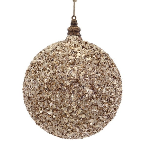 "6"" Luxury Lodge Toffee Brown Sand Glittered and Beaded Christmas Ball Ornament"
