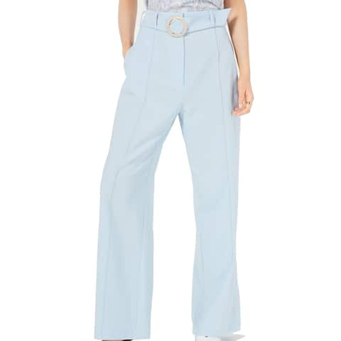 Leyden Womens Pants Blue Size Medium M Wide Leg Belted Pintuck Stretch