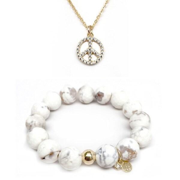 """White Agate 7"""" Bracelet & CZ Peace Sign Gold Charm Necklace Set"""