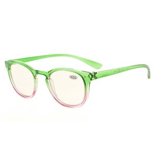 Eyekepper Blue Light Blocking Digital Eye Strain Prevention Womens Computer Reading Glasses(Green-Pink Frame, +0.50)