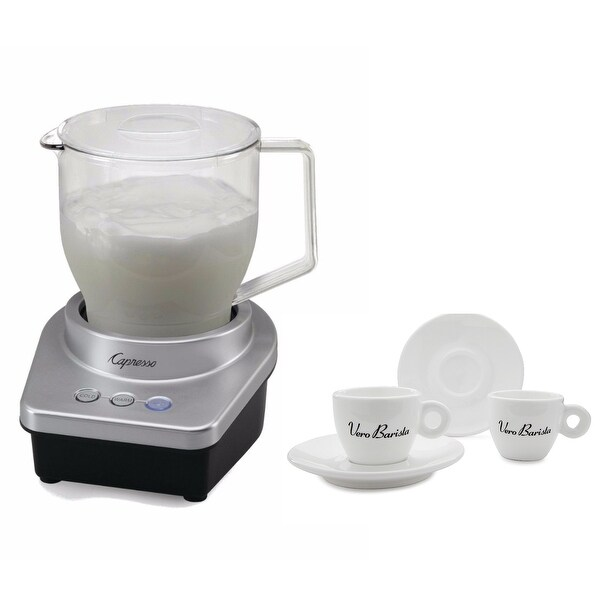 Capresso Froth Max Automatic Milk Frother with Two Espresso Cups and Saucers