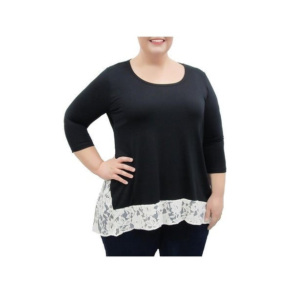 cdd450ff63bf1 Shop Karen Kane Womens Plus Tunic Top Lace Contrast Hi-Low - Free ...