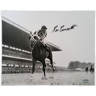 Ron Turcotte Signed 8x10 Secretariat Horse Racing B&W Photo SI