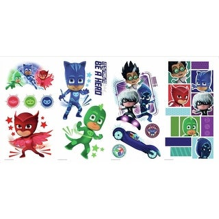 York Wallcoverings RMK3586SCS RoomMates 13 Piece PJ Masks Repositionable Peel and Stick Wall Decals - Red