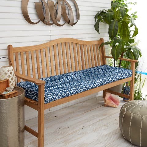 Graphic Indigo and Navy Indoor/ Outdoor Corded Bench Cushion