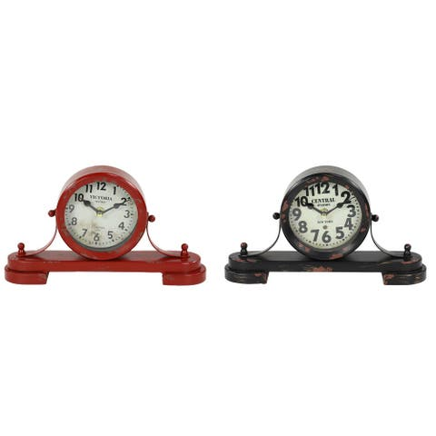 "Large Vintage Style Distressed Red and Black Round Metal Table Clocks Set of 2 11"" x 6"" Each - 11 x 3 x 6Round"