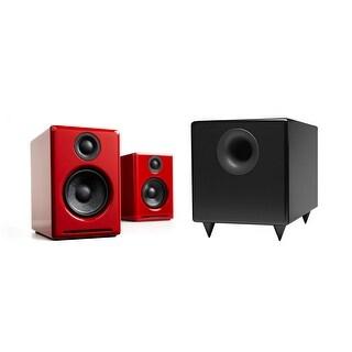 Audioengine A2+ Limited Edition Red Desktop Speaker Bundle With S8 Subwoofer