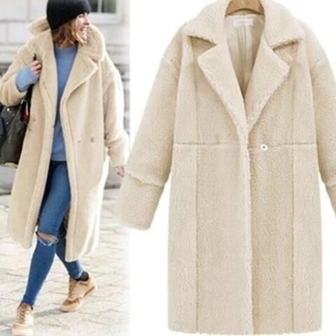 Women's Cashmere Long Sleeve Solid Color Long Coat Woolen Jacket