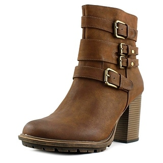 Weatherproof Scooter Women Round Toe Synthetic Brown Ankle Boot