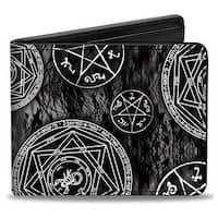 Supernatural Devil's Trap Pentagrams Grays Black White Bi Fold Wallet - One Size Fits most