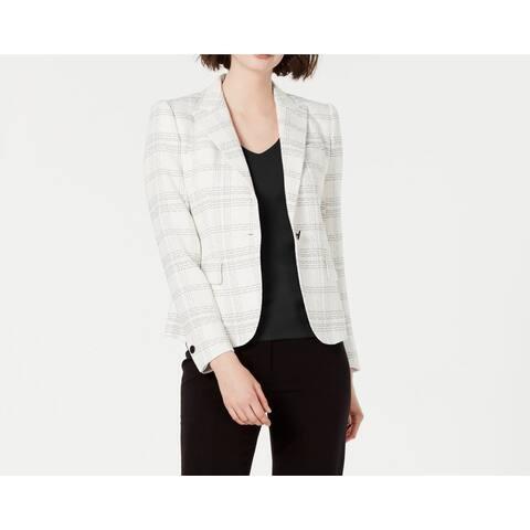 Anne Klein Women's Jacket Beige Size 10 Novelty Plaid Single Button