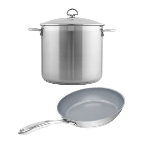 Chantal Induction 21 12qt Brushed Stainless Steel Stockpot w/ Fry Pan