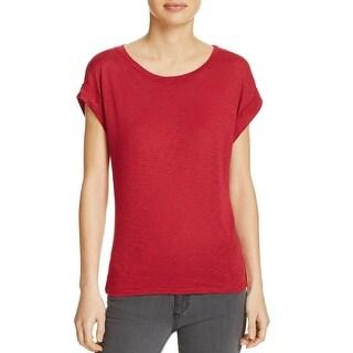 Splendid Womens T-Shirt Roll Up Cap Sleeve