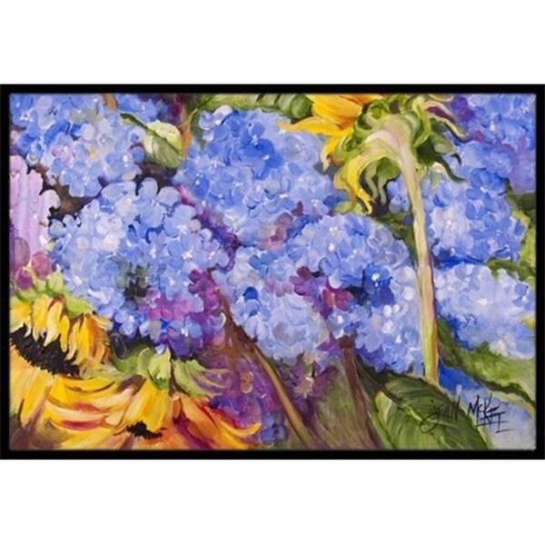 Carolines Treasures JMK1119JMAT Hydrangeas And Sunflowers Indoor & Outdoor Mat 24 x 36 in.