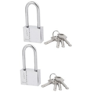 6mm Dia Shackle Rectangle Shaped Body Anti-theft Security Lock Padlock 2pcs