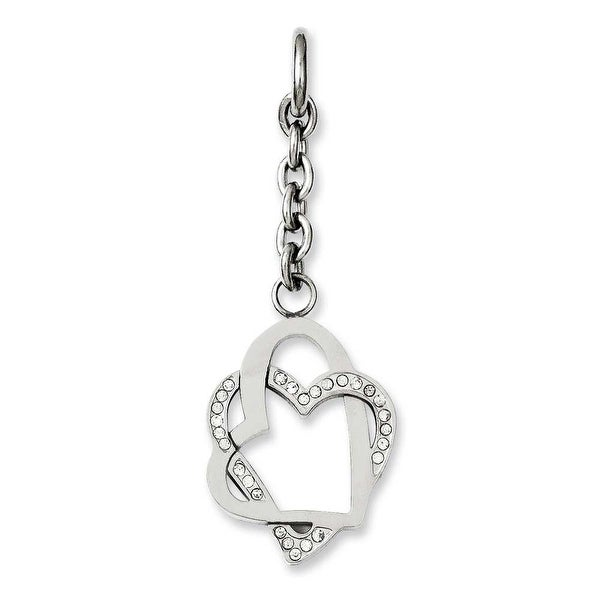 Chisel Stainless Steel Double Hearts with CZ Interchangeable Charm Pendant (20 mm) - 2.5 in