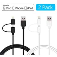 [2-Pack] Skiva USBLink Duo 2-in-1 Sync and Charge Cable (3.2ft / 1m) with Lightning & microUSB for iPhone X 8 8+ (Black & White)
