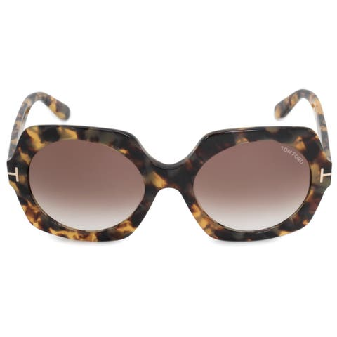 8c7aa1da7d563 Tom Ford Sofia Round Sunglasses FT0535 56F 57 Havana Acetate Frames Brown  Gradient Lenses