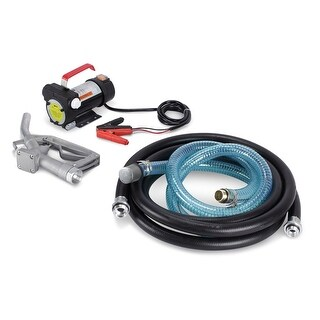ARKSEN 12V 10GPM Electric Diesel Fuel Transfer Extractor Pump 12-Volt Battery Powered with Nozzle & Hose Kit