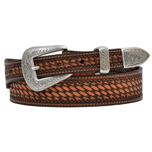 3D Belt Mens Western Basketweave Studs Tooled Tapered Natural