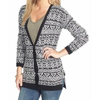 Sun & Shadow NEW Black Women's Size Medium M Printed Cardigan Sweater