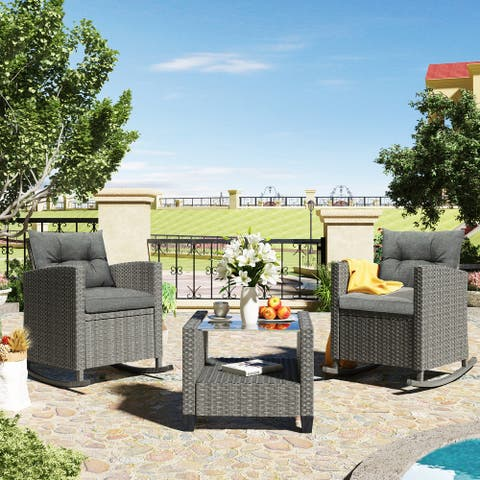 3 Piece Rocking Patio Furniture Set with Cushions and Coffee Table