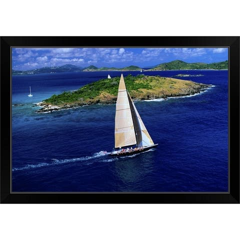 """""""The Americas Cup challenger, 'Stars and Stripes' practices off St John"""" Black Framed Print"""