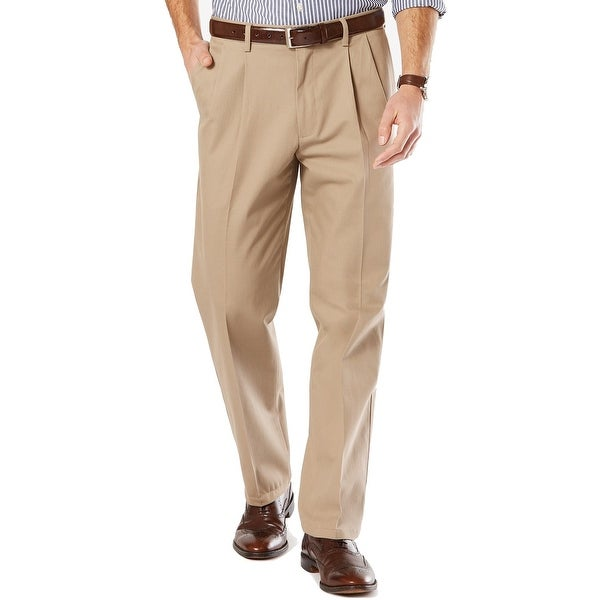 Dockers Mens Pants Timberwolf Beige Size 40x30 Khakis Pleated Stretch. Opens flyout.