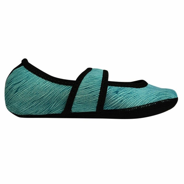 Women's NuFoot Mary Jane Indoor Non Slip Soles Stretch Slippers - Turquoise