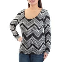 Womens Black White Chevron Long Sleeve Scoop Neck Casual Top  Size  XL