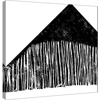 """PTM Images 9-101136  PTM Canvas Collection 12"""" x 12"""" - """"Starkly Lined A"""" Giclee Abstract Art Print on Canvas"""