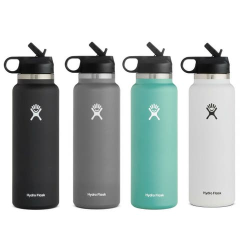 Hydro Flask Water Bottle 40 oz - Wide Mouth Straw Lid 2.0 - 40OZ
