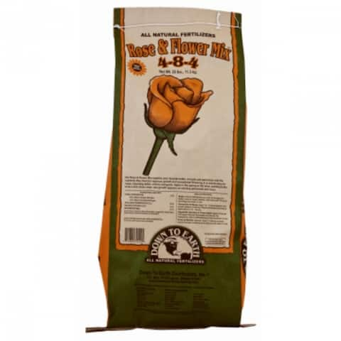 Down To Earth 32422 Rose & Flower Mix All Natural Fertilizer, 25 Lbs, 4-6-2
