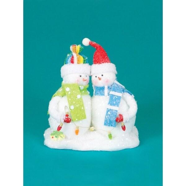 "9.5"" Cupcake Heaven Fluffy Snowmen with Light Strand Christmas Table Figure - WHITE"