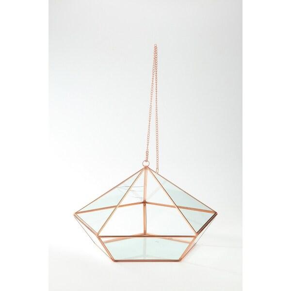 """13.5"""" Rose Gold Colored Geometric Handblown Glass Terrarium Planter with Chain - N/A"""