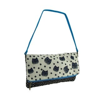 Laurel Burch Polka Dot Gatos Flap Clutch Purse w/Detachable Strap - Blue