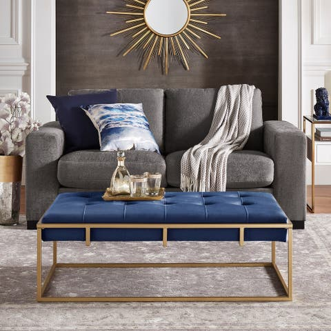 Perdita Gold Finish Velvet Rectangular Tufted Cocktail Ottoman by iNSPIRE Q Bold