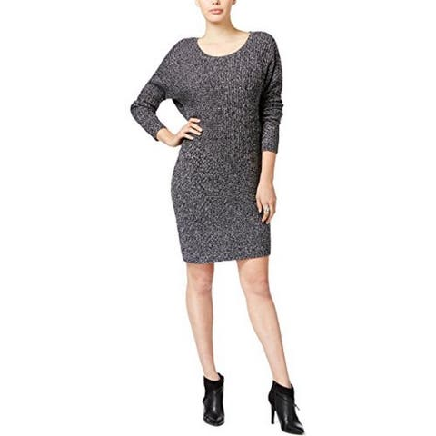 Bar III Womens Wool Marled Sweaterdress Black M - Medium