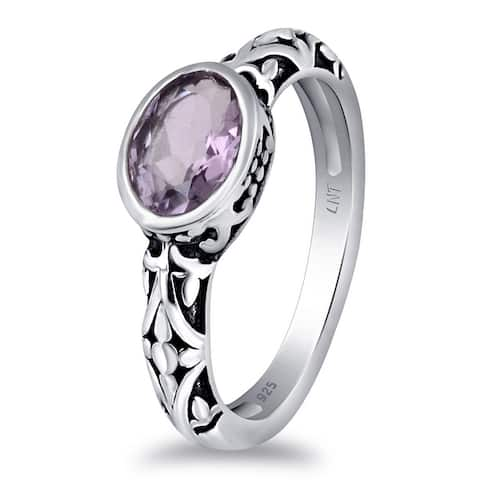 Amethyst,Citrine Sterling Silver Oval Solitaire Ring by Orchid Jewelry