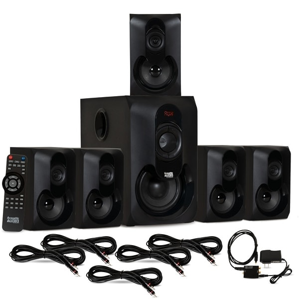 Acoustic Audio AA5301 Bluetooth 5.1 Speaker System Optical Input & 5 Ext Cables